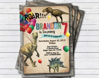 Dinosaur birthday invitation. Boy kids birthday invite. Rustic retro dinosaurs. Dino-mite printable digital invite. KB148
