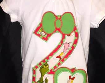 Handmade Custom Birthday Age or Initial Dr. Seuss Grinch Cindy Lou Who - T-Shirt