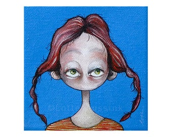 Surreal original painting of a quirky big eyed redhead girl, whimsical tiny artwork, collectible, pop surrealism lowbrow, fantasy wall art