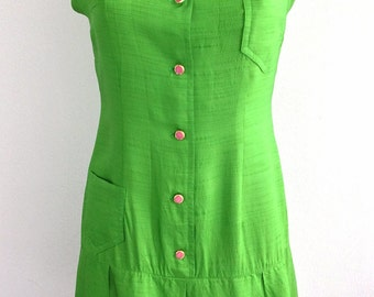 Vintage 60S Women's Green Sleeveless Short Dress With Pink Buttons
