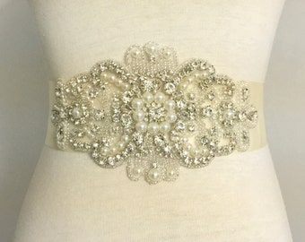 2 Inch Sash-Sale Sash-Sale Bridal Sash-Sale Wedding Sash-Large Applique-Rhinestone Sash-Pearl Sash-Large Rhinestone Applique Bridal Sash