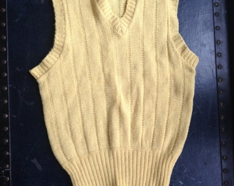 50's Yellow Boy's Sweater Vest. 1950's Boyville Knit Sleeveless Sweater. Kids.