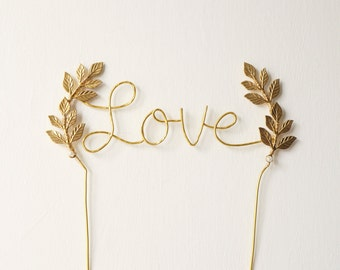 Gold love wedding cake topper, Cursive love gold cake topper, Leaf cake topper, Rustic chic wedding, Woodland, Calligraphy cake topper