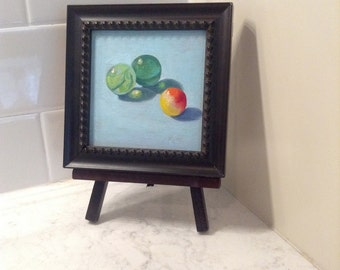 "Marble Trio 4""x4"" framed Original Oil Painting by Renee Brennan Art, marble art, marble painting, glass marbles, green marbles, framed art"