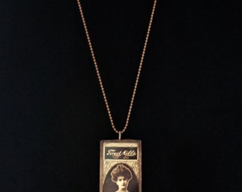 Victorian Advertising - Microscope Slide Necklace - Double Sided