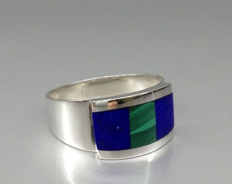 Lapis Lazuli and Malachite statement ring with Sterling silver