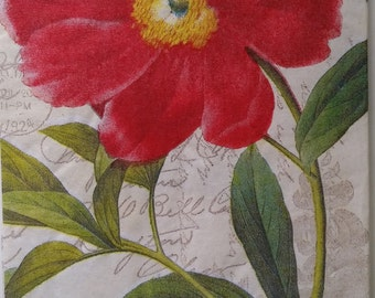TWO (2) Peony,Flowers, Paper Hostess Napkins for Decoupage and Paper Crafts