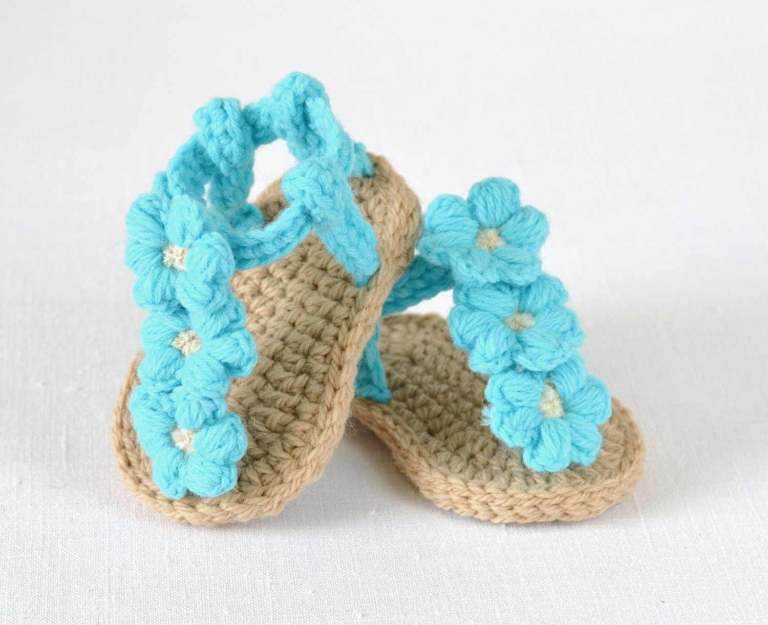 Free Crochet Pattern Baby Boy Vest : CROCHET PATTERN Baby Sandals with Little Puff by ...