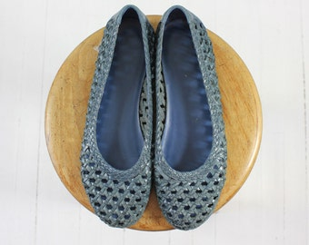 1980s leather flats • vintage woven shoes • ballet flats • smokey blue • 7