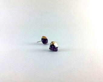 Amethyst Gold Dipped Ear Studs, Natural Stone Quartz Studs, Geometric Earrings, Minimalist Jewellery, Simple Everyday Earrings, Handmade