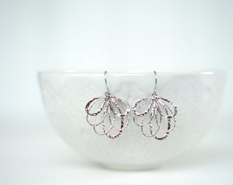 Glossy Silver Fan Earrings