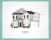 Custom House Art Print, Personalized Illustration Portrait, for Wedding Present, House Warming Gift, Home Decor, Mother's Day Gift