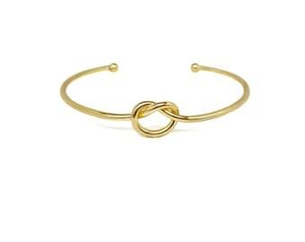 Adjustable Gold Knot Bracelet, 18K Gold  plated Love Knot Bracelet, Bridesmaid Gifts for Her
