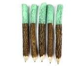 Twig Pencils in Mint Green Dipped (x5) - Stationery, School Supplies, Party Favors, Event Favors, Wedding, Events, Favours, Stocking Filler