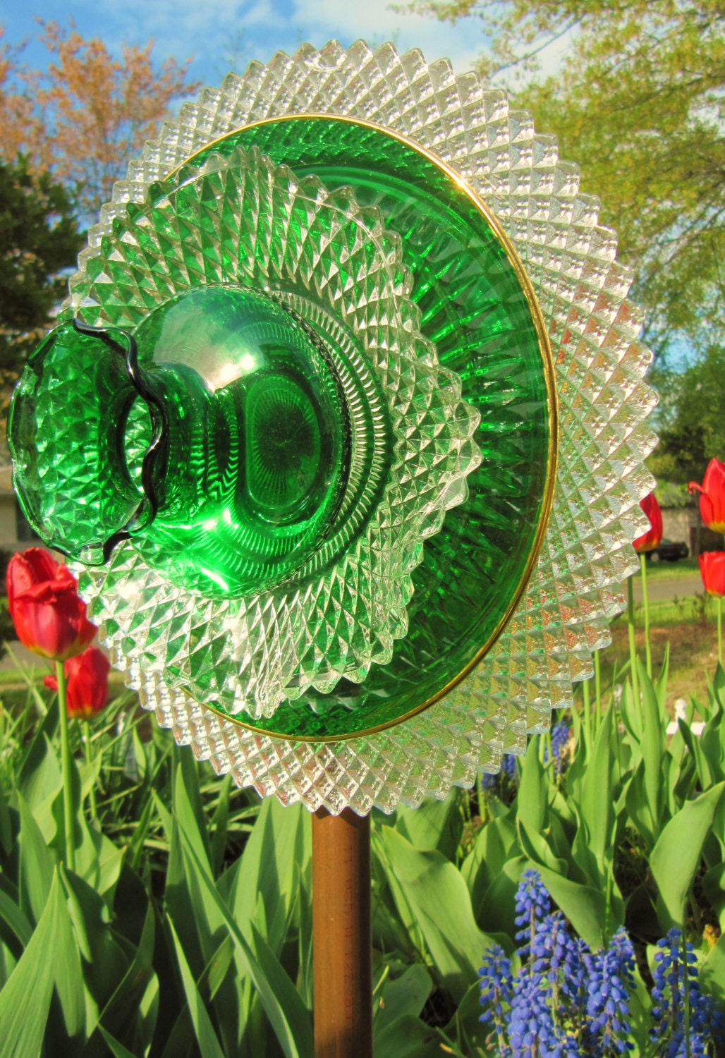 Glass Flower Plate Garden Art