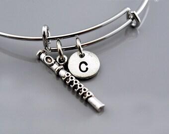 Flute bangle, Flute bracelet, Flutist bracelet, Music, Musician, Expandable bangle, Personalized bracelet, Monogram, Initial bracelet