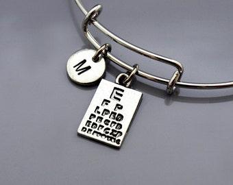 Snellen chart Bracelet, Snellen chart Bangle, eye chart charm bracelet, eye exam, Expandable bangle, Charm bangle, Initial bracelet