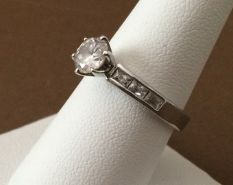 Size 8.25 Sterling Silver And 1ct Round Center Cubic Zirconia Ring