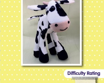 Cow Soft Toy Sewing Pattern.  Softie Plushie