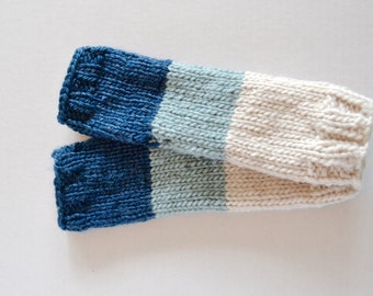 Hand Knit Fingerless Mittens Texting Gloves - Shoreline Ombre - Ready to Ship