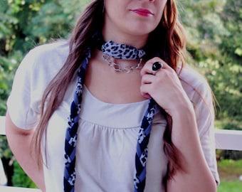 LEO Animal print handmade SET/braided scarf jewelry chain&twist turban headband, twisted turban hairband  turband headwear