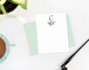 Floral Hand Lettered Calligraphy Stationery / Custom Initial / Custom Stationery / FLAT NOTECARD