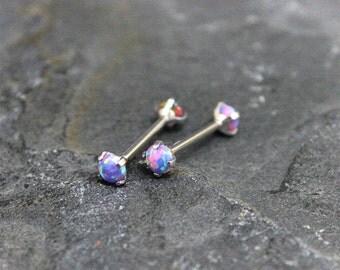 Nipple Jewelry,Bridge Piercing,Purple Fire Opal,Conch Stud,Helix Earring,14G,16G,Internally Threaded,Surgical Steel Straight Barbell