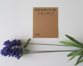 Wedding Advice Cards | Rustic Well Wishes for the Mr and Mrs | Memorable Advice Cards | Rustic Wedding Alternative Guest Book
