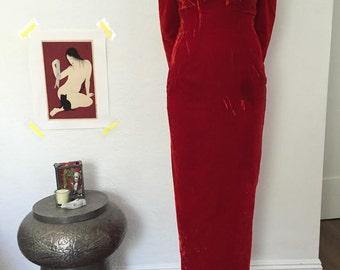 VTG 90's off the shoulder red velvet evening dress S