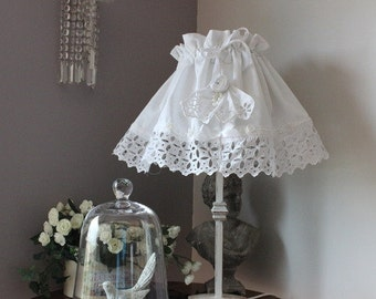 """"" lampshade cover old white cotton / white linen and old embroidery ""Louise boudoir"""
