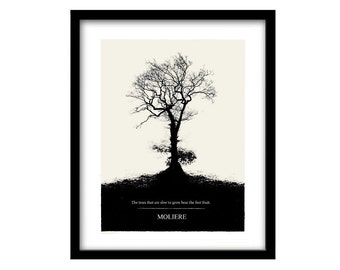 tree picture, literary art print, Moliere quote, literary quotes, inspirational quote, literary poster, black and white art, quote art
