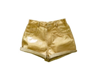 TAN LEATHER SHORTS / genuine leather / real leather / high waist / tan beige sand shorts / leather shorts / lined