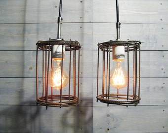 "Rustic Cage Ceiling Light 4.75"" Diameter Brown Steel Cage - Industrial Pendant Light"