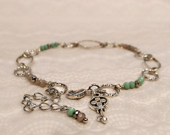 Rhodium Plated Links Anklet, Crystal Anklet