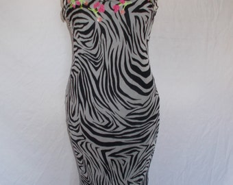 Vintage dress 90s by  Barbara Taddei 100% silk bias cut zebra print dress with floral embroidery size small medium