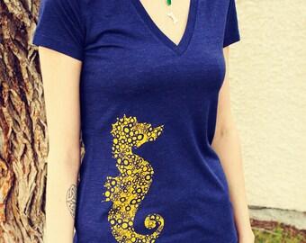 Seahorse, Screen Printed, Women's Navy Triblend Deep V-Neck T-Shirt