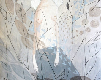 Seminude Figure-White Wings-Original Painting-Tendernesses Balance-Muted shades-Gray Blue