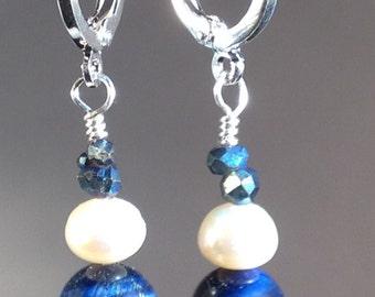 Navy blue Tigereye & Pearl Earrings