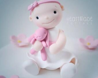 Christening, Baptism, Birthday Baby Girl with Bunny polymer clay cake topper & keepsake