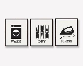 Laundry Prints - Wash Dry Press - Laundry Room Decor - Set of Three Minimalist Art Prints