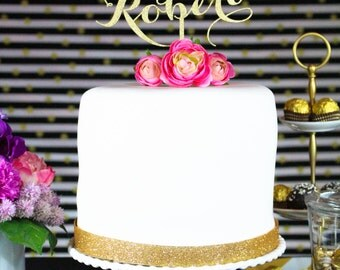 Custom Name Wooden Cake Topper, First Names, Gold Silver Metallic and Glitter Luxe Colors