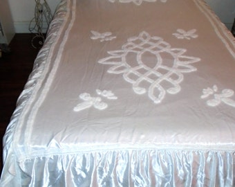 Vintage 50s Mid Century CHENILLE and SATIN Bedspread Shabby French Nordic Regency Prairie Cottage Farmhouse Regency Chic