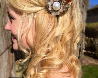 SALE Pheasant Feather Hair Clip with Pearl Jewel