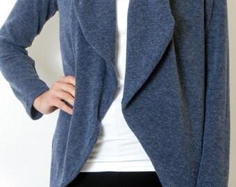 Blue Jeans Cardigan Womens Knit Blue Jacket Oversized Blue sweater Womens Tops