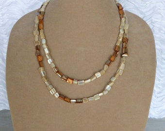 Mother of Pearl Necklace, Square Necklace, Long Necklace, Convertible Necklace, Multi Strand Necklace, Multi Layer Necklace