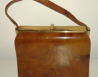 SALE /// Vintage 1960's Toffee Vinyl Handbag Purse Tan Suede Trim by Nicholas Reich