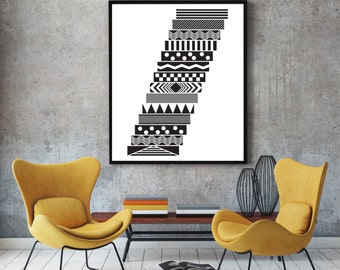 Steps - black and white print, abstract geometric wall art, black and white wall art, folk art, nordic art, wall art prints, folk motif