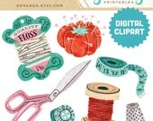 SEWING NOTIONS Digital Collage Clipart Instant Download Illustration Craft Needlework Scissors Thread Fashion Retro Vintage Antique Spool