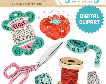 SEWING NOTIONS Digital Clipart Instant Download Illustration Craft Needlework Scissors Thread Fashion Retro Vintage Antique Spool Stock Art