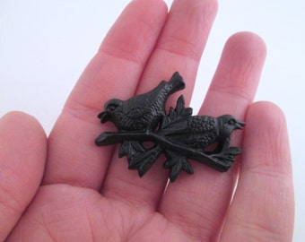 black birds on a branch resin cabochons 30x40mm, pick your amount